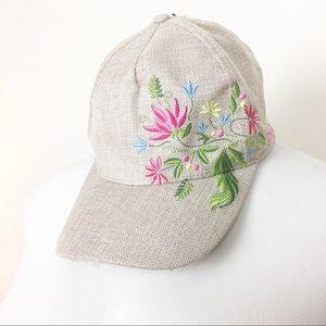 Bebe tan burlap pink Floral embroidered cap